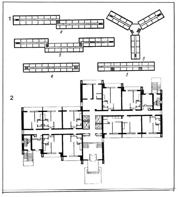 Схемы коридорных домов: а,